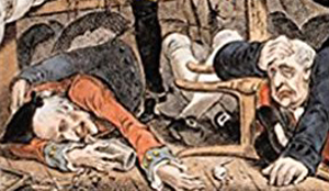 Image detail from the cover of Stephen Brumwell's book 'Cassell's Companion to Eighteenth Century Britain' showing a print of drunken revellers.