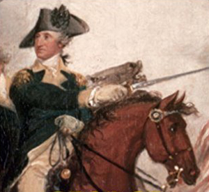 Image detail from the cover of Stephen Brumwell's book 'George Washington: Gentleman Warrior' showing George Washington on horseback, a detail from the painting 'The Death of General Mercer at Princeton' by John Trumbull.