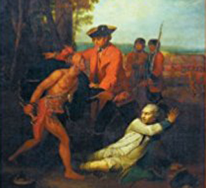 Image detail from the cover of Stephen Brumwell's book 'Redcoats' showing painting by Benjamin West of a British officer saving a French soldier from a Native American.