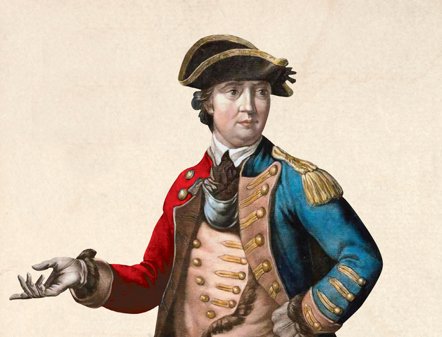 Image detail from the cover of Stephen Brumwell's book 'Turncoat' showing Benedict Arnold in a two-coloured coat, adapted from a 1776 print.