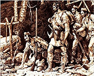 Image detail from the cover of Stephen Brumwell's book 'White Devil' showing a print of Robert Rogers and his Rangers.