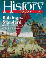 Image of 'History Today' magazine cover, September 2009 edition to which Stephen Brumwell contributed an article: 'General Wolfe's Men in Quebec'.
