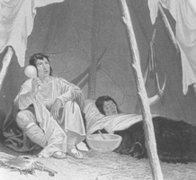 Image of mid-19th century engraving showing a Native American medicine man caring for an ill Native American, after Captain Samual Eastman.