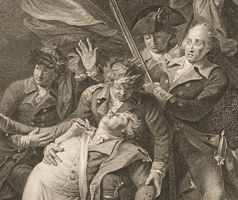 Image showing detail from an engraved print of the Death of General Montgomery at Quebec after the painting by John Trumbull.