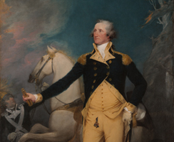 Image detail of oil painting by John Trumbull of George Washington at Trenton posed in front of a white horse.