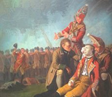 Image detail of painting by Edward Penny of the Death of General Wolfe at Quebec in 1759.