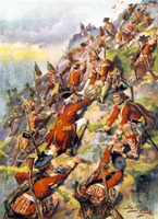 Image of painting of General Wolfe's British troops scaling the Heights of Abraham, Quebec, in 1759.
